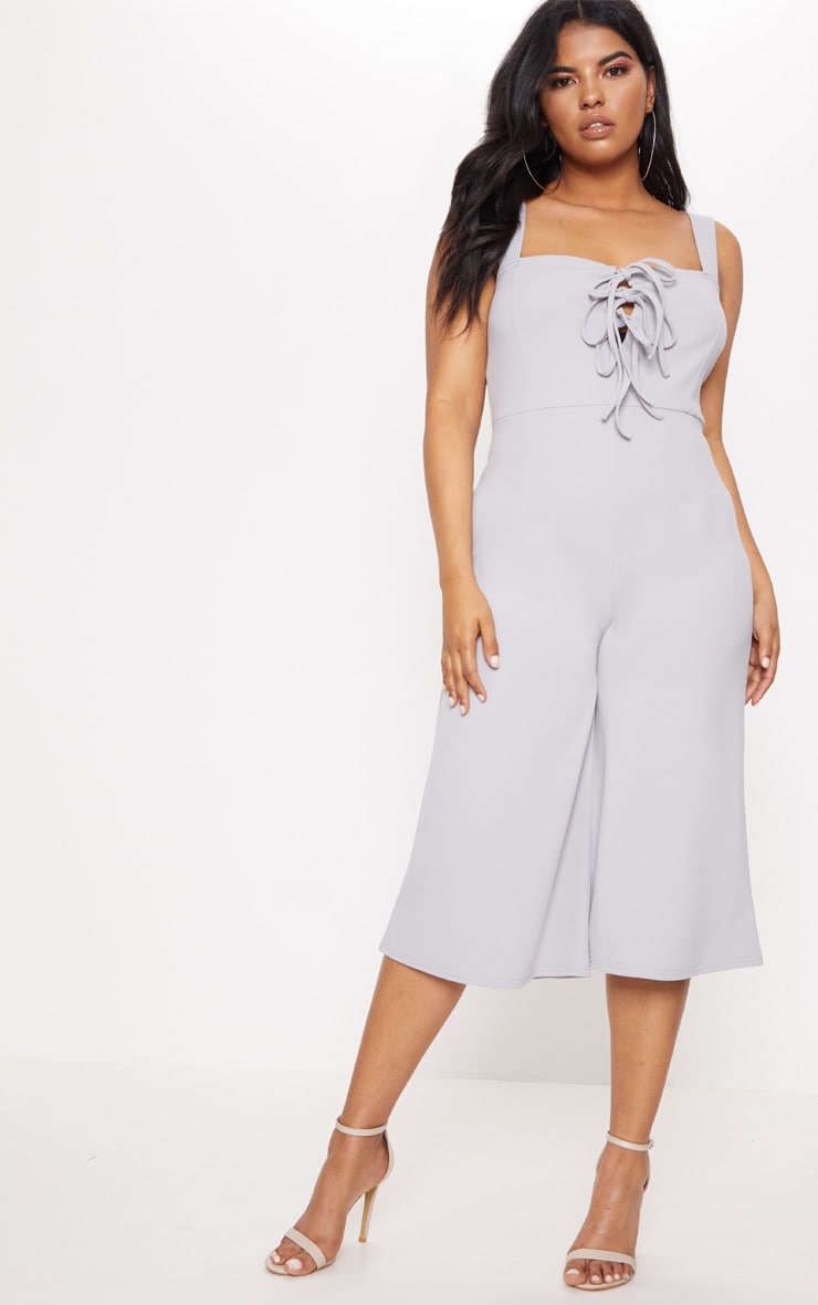 Plus Ice Grey Lace Up Detail Wide Leg Culotte Jumpsuit 3