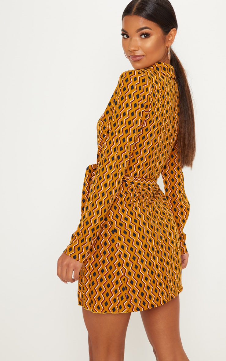 Mustard Geometric Print Wrap Skater Dress 2