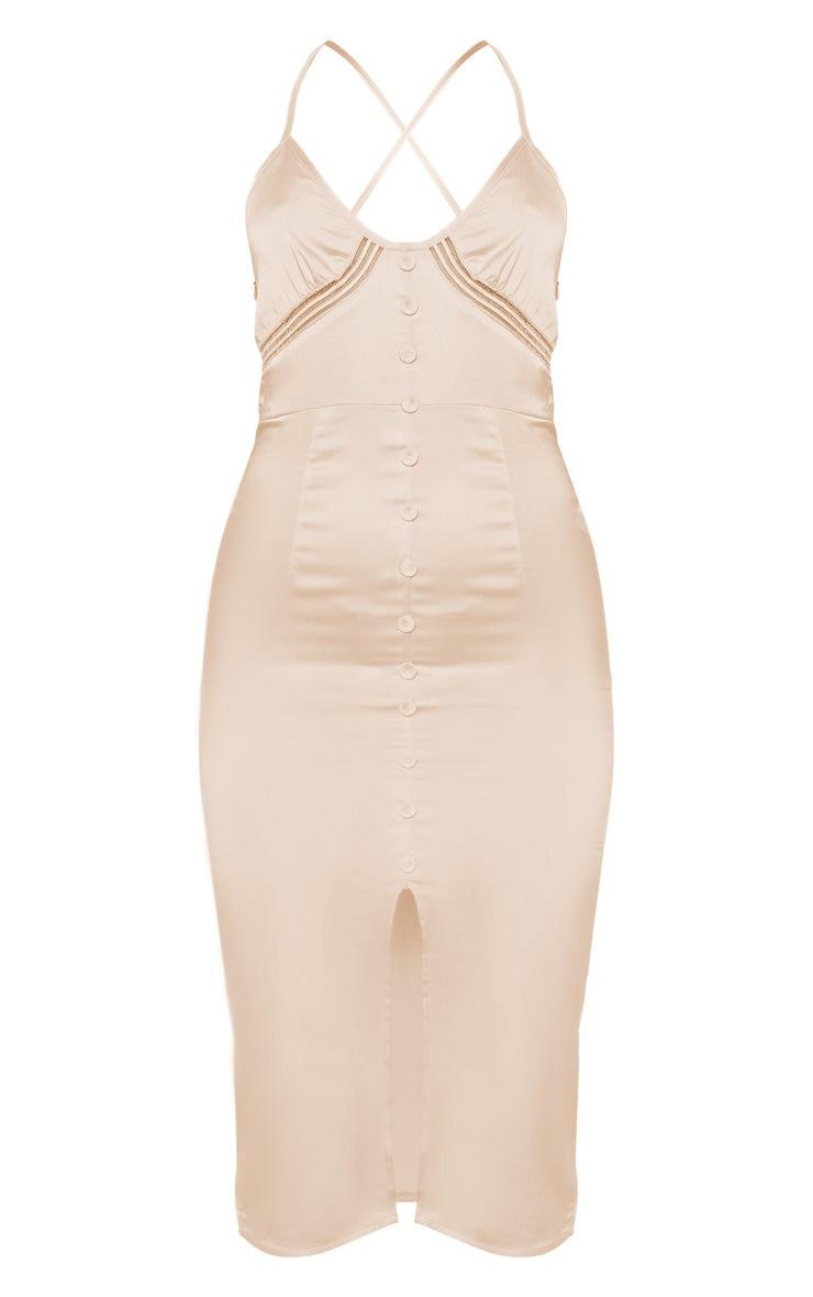 Champagne Button Front Satin Strappy Midi Dress 3