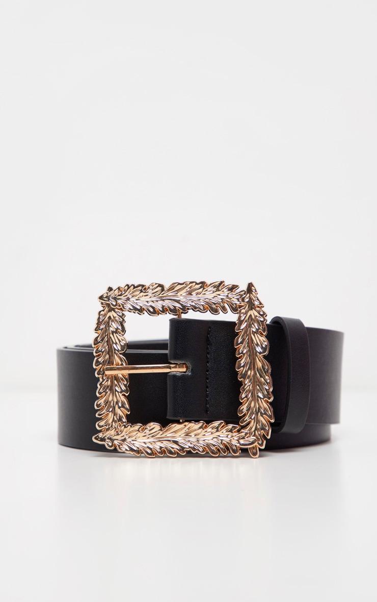 Black Wide Waist Belt With Gold Leaf Effect Buckle 2