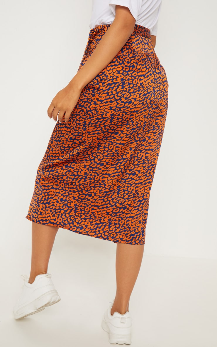 Navy Leopard Print Wrap Midi Skirt 4