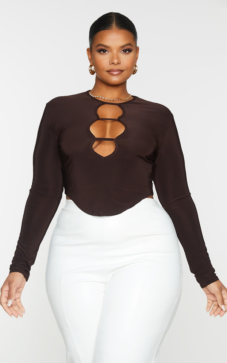 Plus Chocolate Brown Cut Out Detail Curved Hem Crop Top