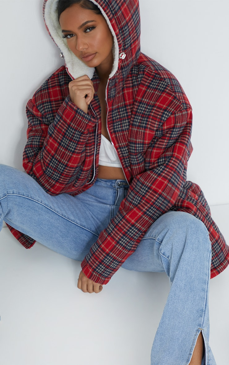 Red Brushed Checked Oversized Puffer Jacket 4