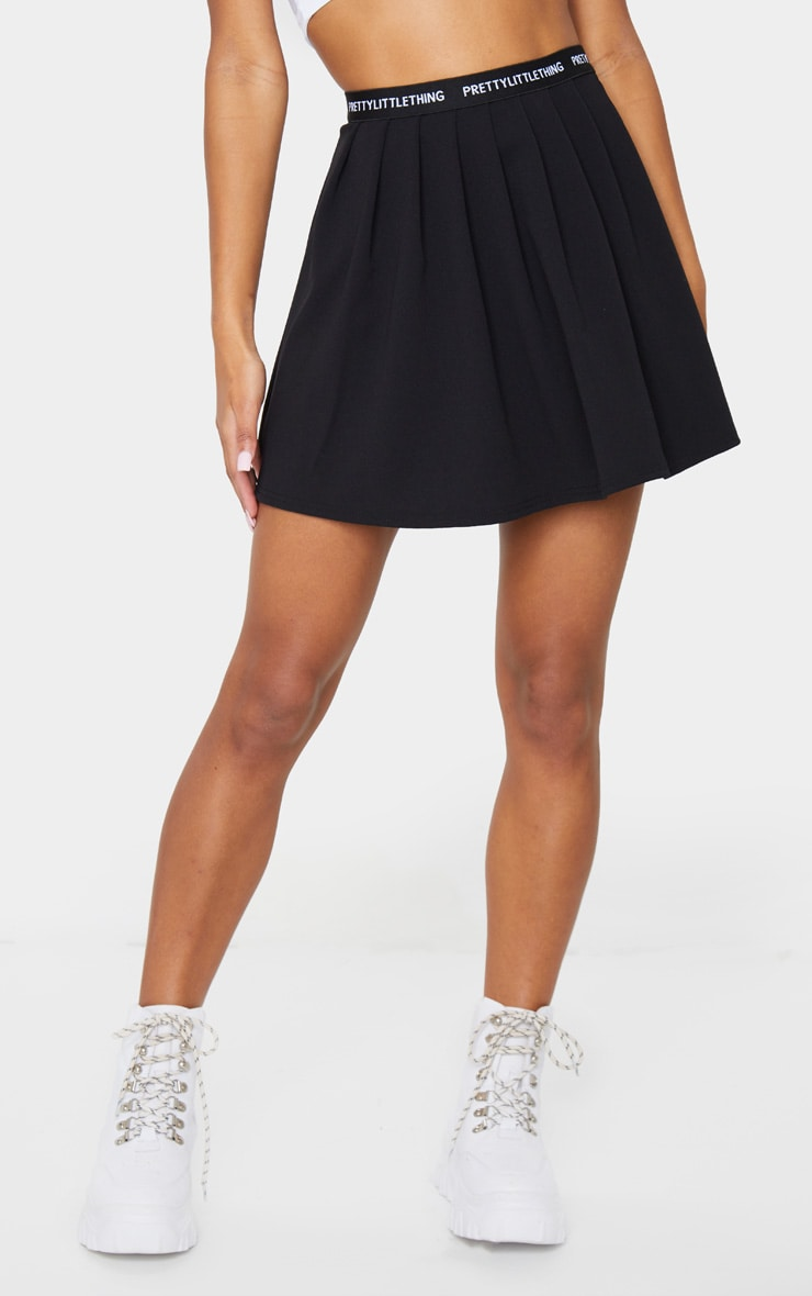 PRETTYLITTLETHING Black Tape Pleated Skater Skirt 3