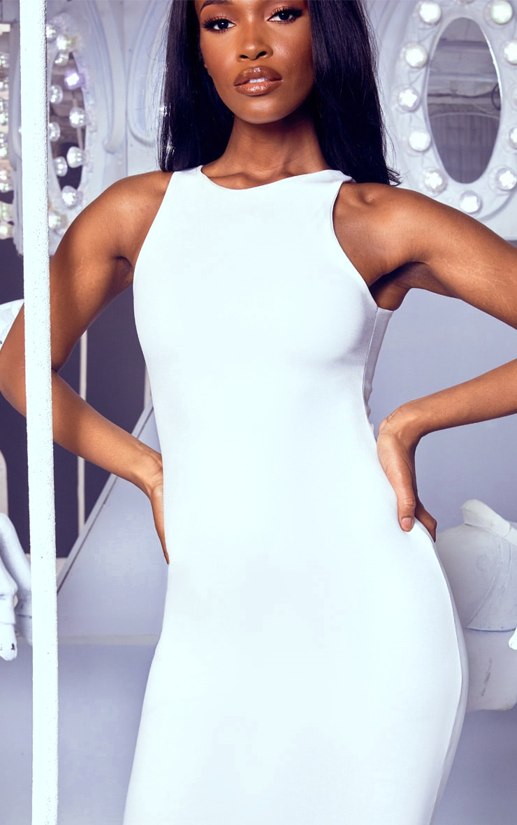 White Crew Neck Midi Dress 5