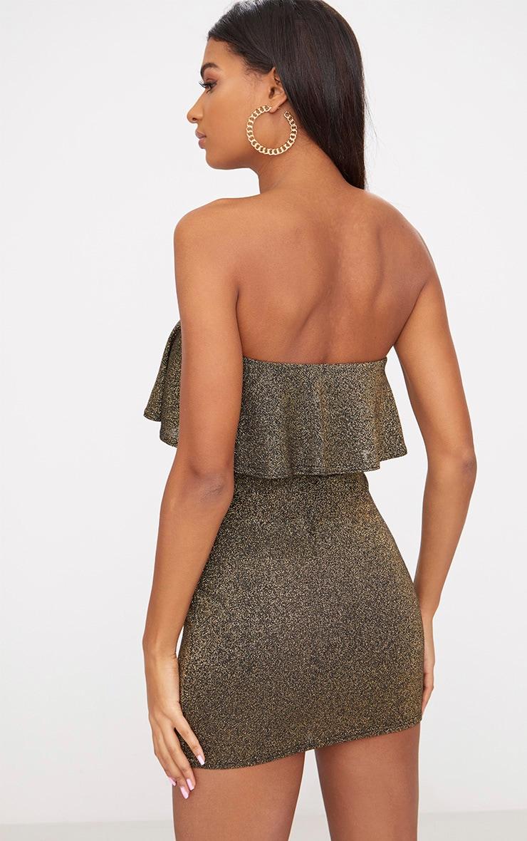 Gold Lurex Bandeau Frill Bodycon Dress   2