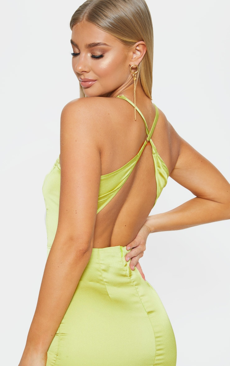 Lime Satin Backless Slip Dress 5