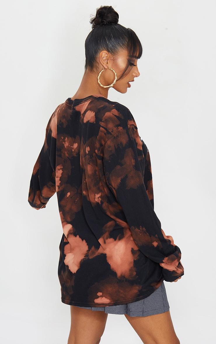 Orange Acid Wash Boujie Printed Long Sleeve T Shirt 2