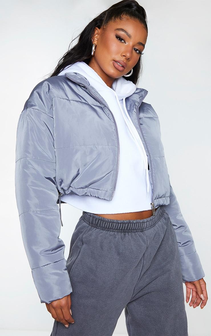 Grey Nylon Super Cropped Toggle Hem Puffer Jacket 1