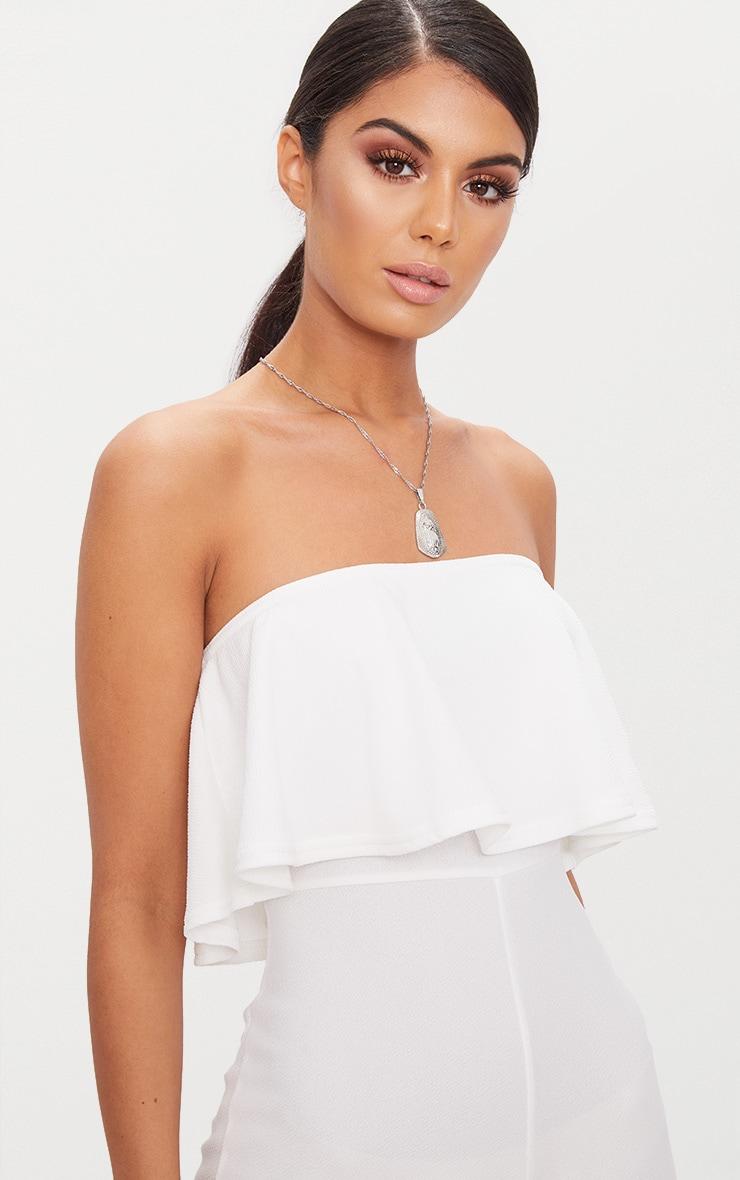 White Bardot Double Layer Culotte Jumpsuit 5