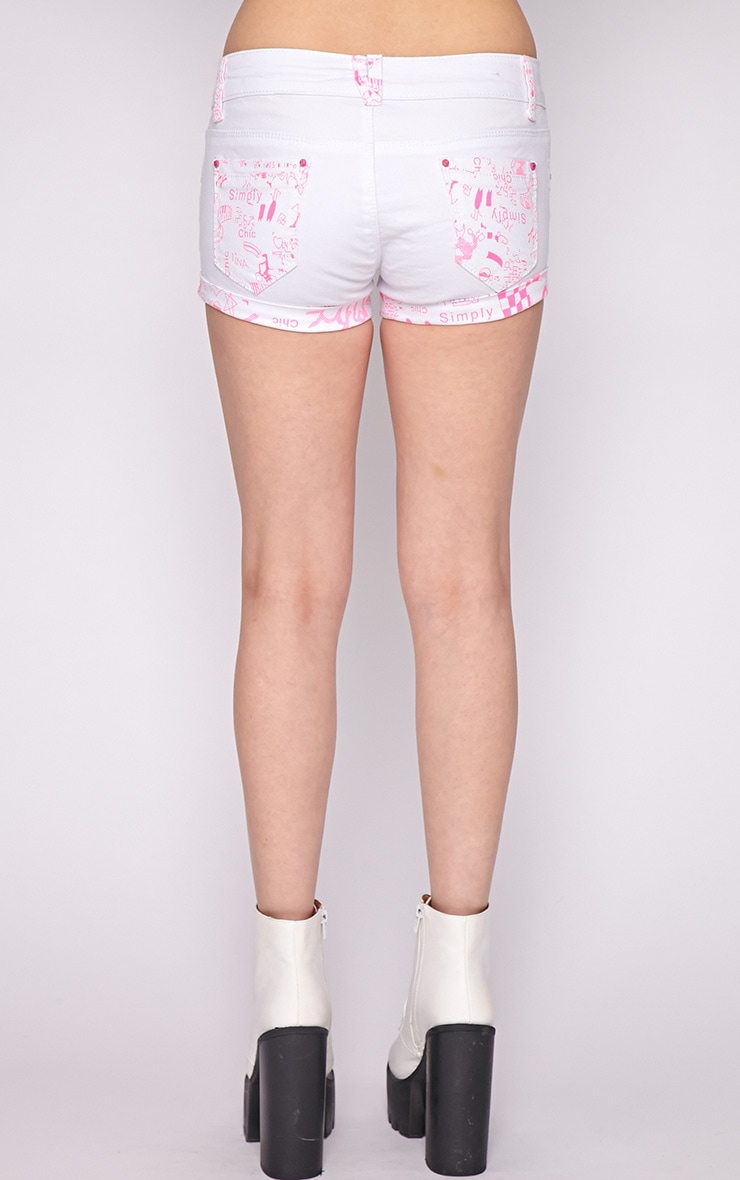 Hollie Pink Trim Denim White Hotpant 2