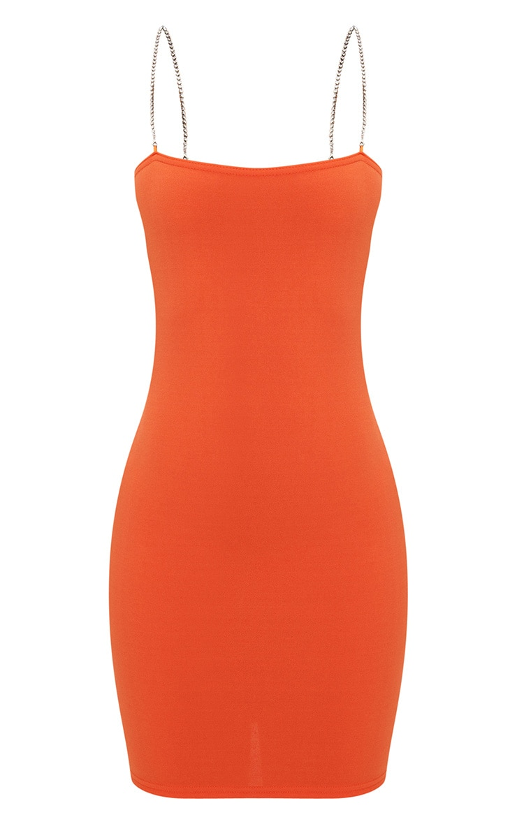 Shape Orange Diamante Strap Bodycon Dress 3