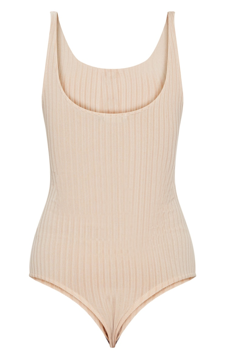 Stone Rib Button Front Thong Bodysuit  4