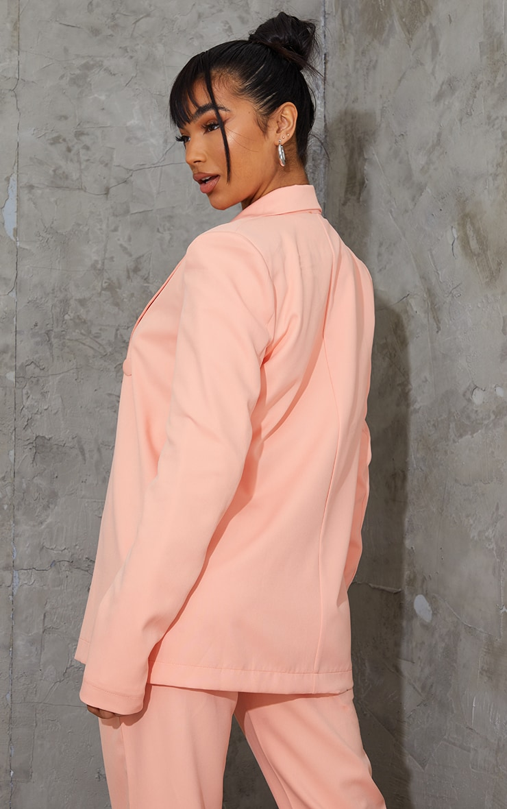 Peach Woven Triple Breasted Blazer 2