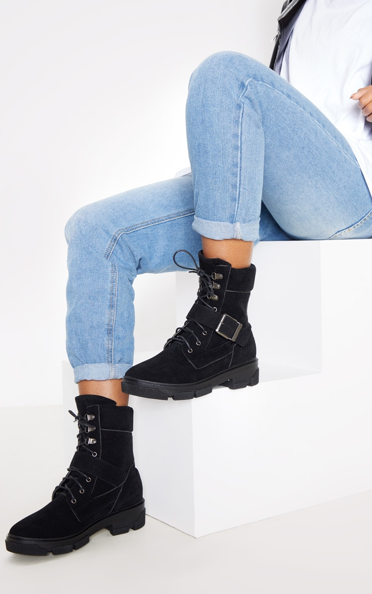 Black Lace Up Buckle Strap Ankle Boot 1