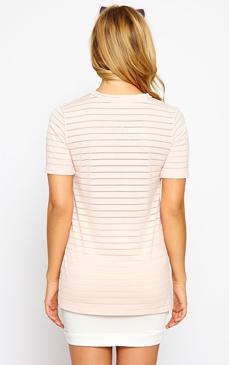 Elodie Nude Stripe Burnout T-Shirt 2