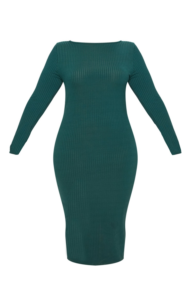 Plus Emerald Green Ribbed Tortoise Button Detail Midi Dress 3