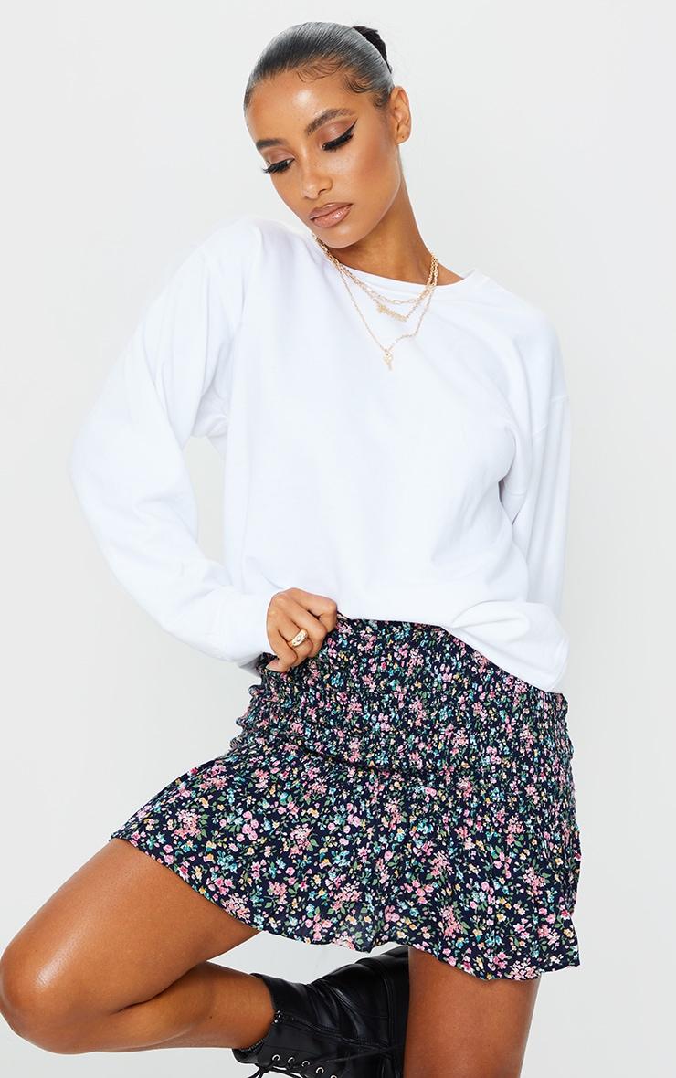 Blue Floral Woven Shirred Frill Hem Mini Skirt 4