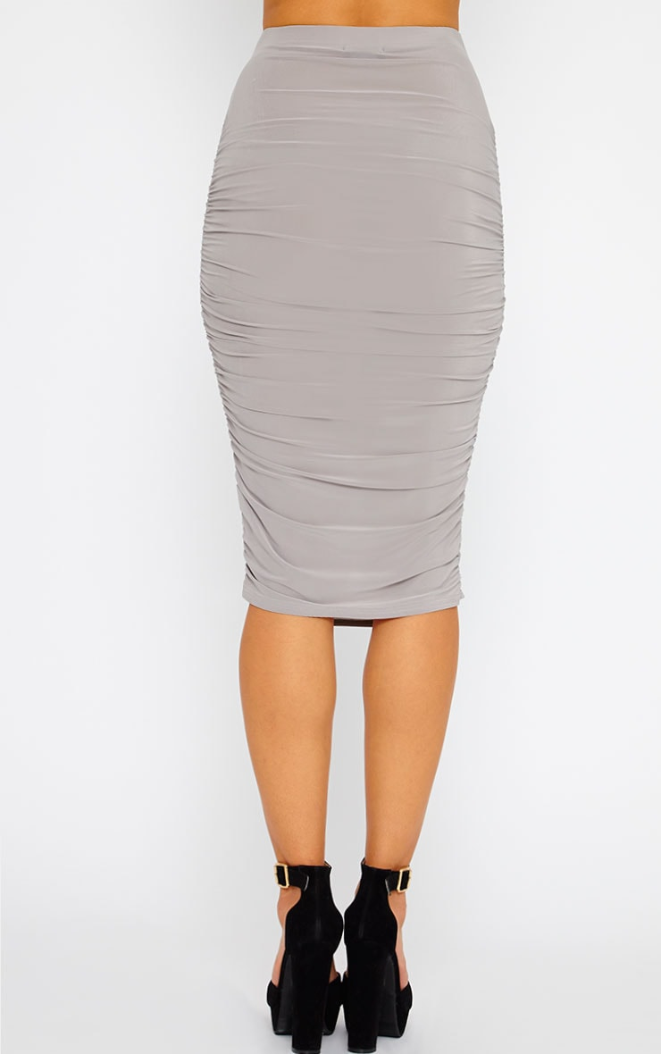 Saylor Grey Gathered Midi Skirt 3