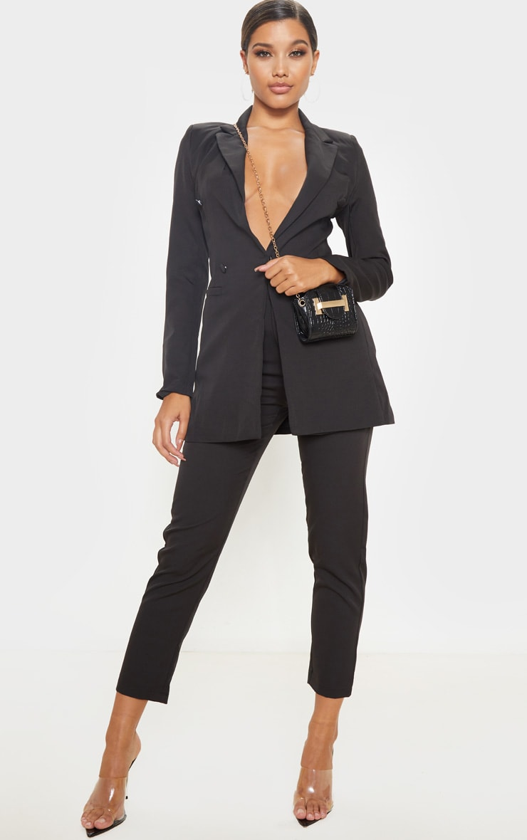 Black Double Breasted Woven Blazer 4