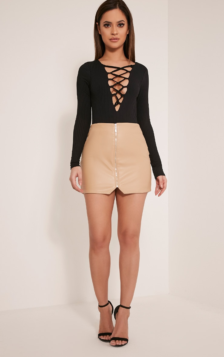 Baylee Black Lace Up Ribbed Long Sleeve Bodysuit 4