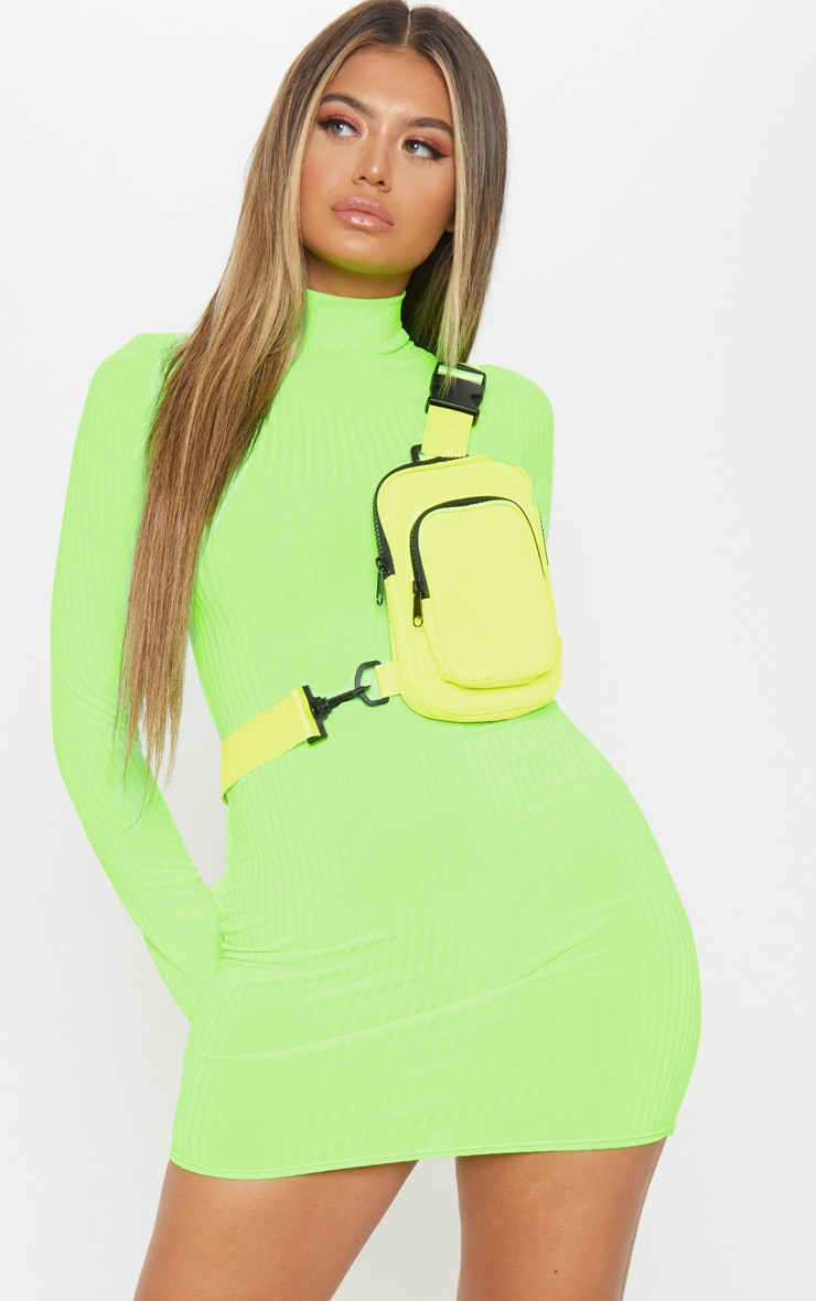 Green Neon Roll Neck Bodycon Dress 2