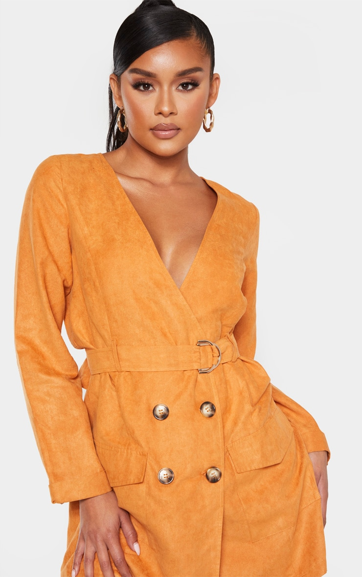 Tan Faux Suede Tortoise Button Buckle Blazer Dress 6
