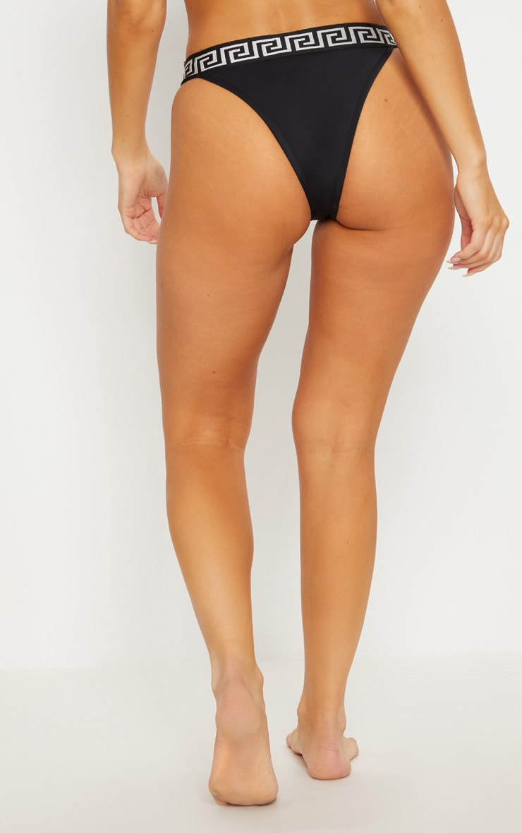 Black Greek Key High Waisted Bikini Bottom 4