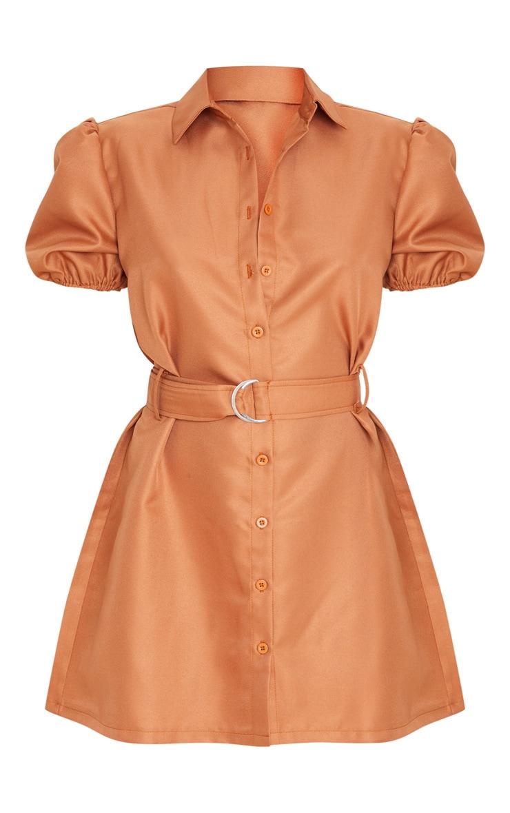 Terracotta Puff Sleeve Belted Shirt Dress 3