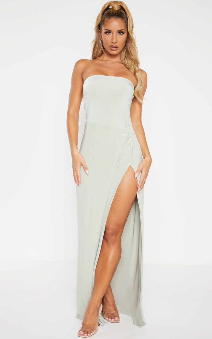 Sage Green Bandeau High Slit Maxi Dress 1
