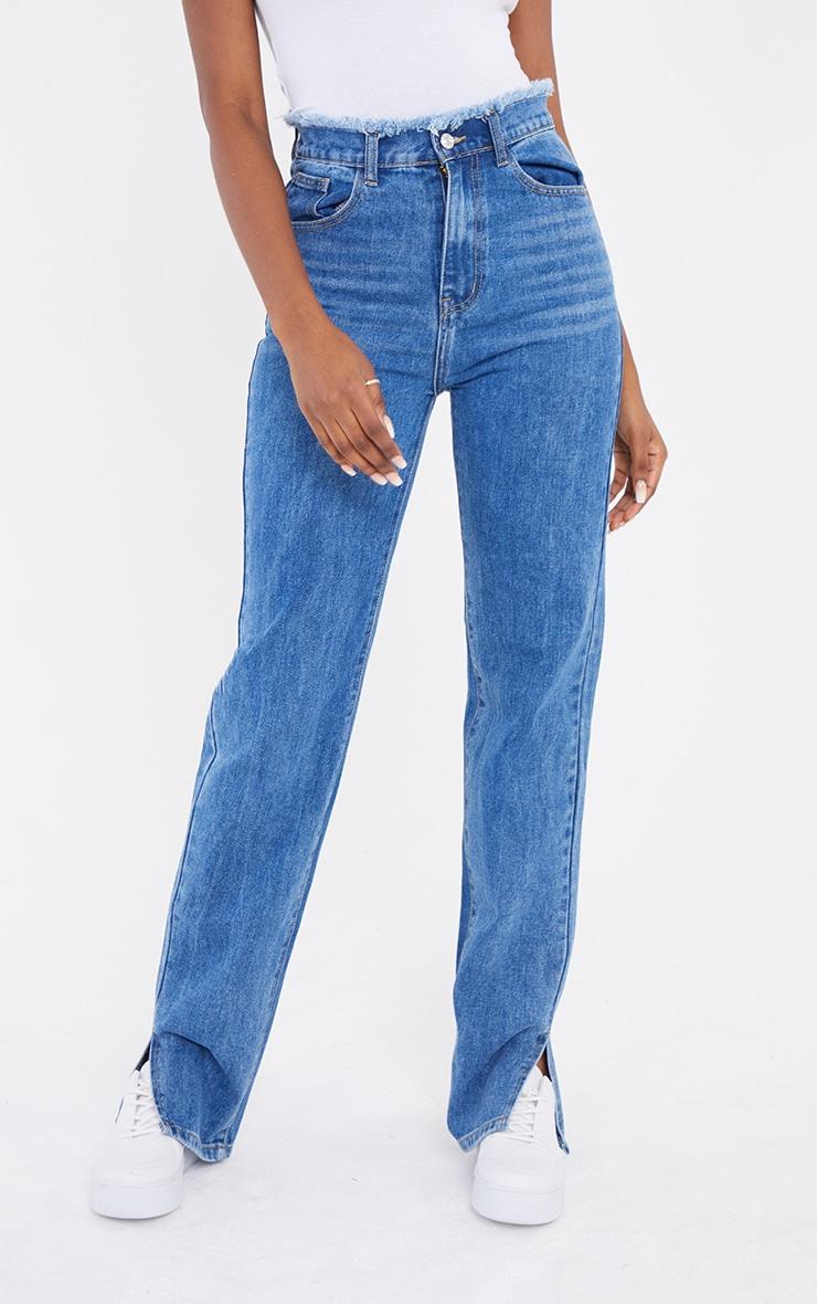 Tall  Mid Blue Distressed Waistband Split Hem Jeans 2