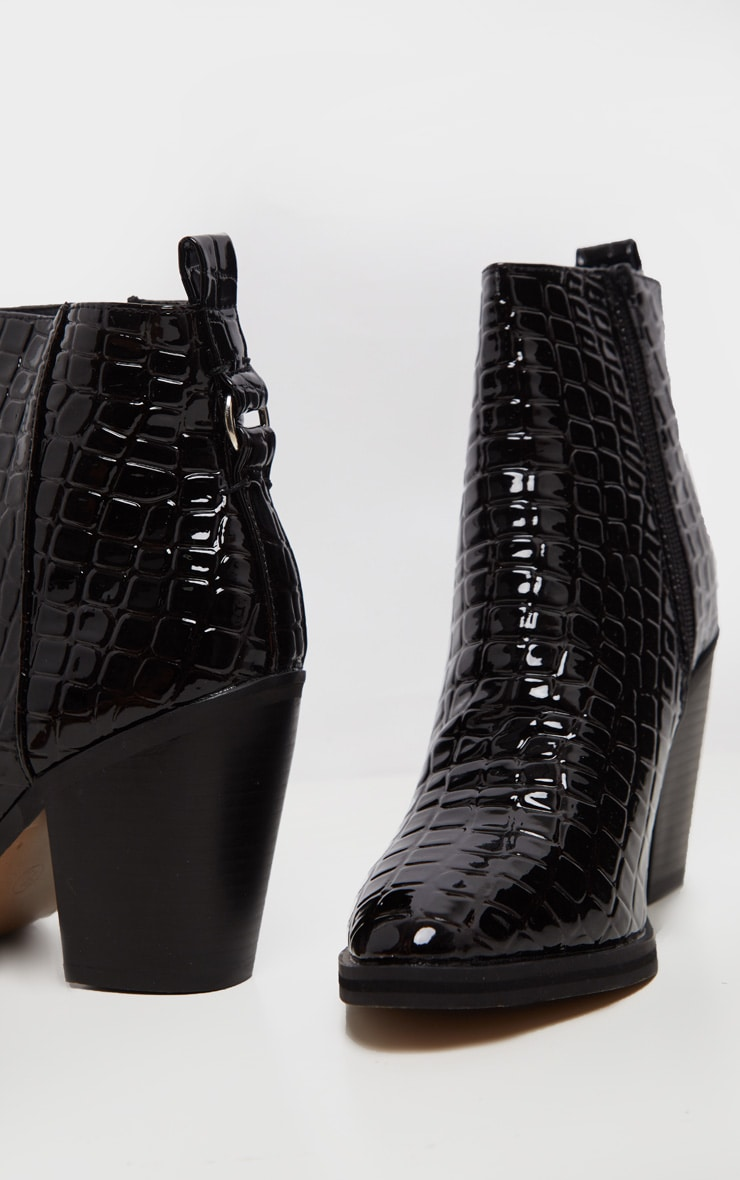 Black Patent Croc Western Ankle Boot 5
