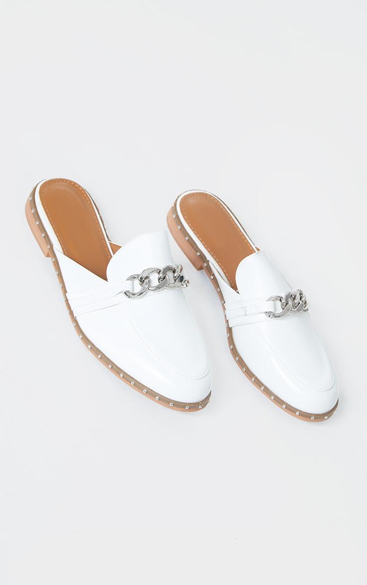 White Studded Chunky Chain Mule Flat 3