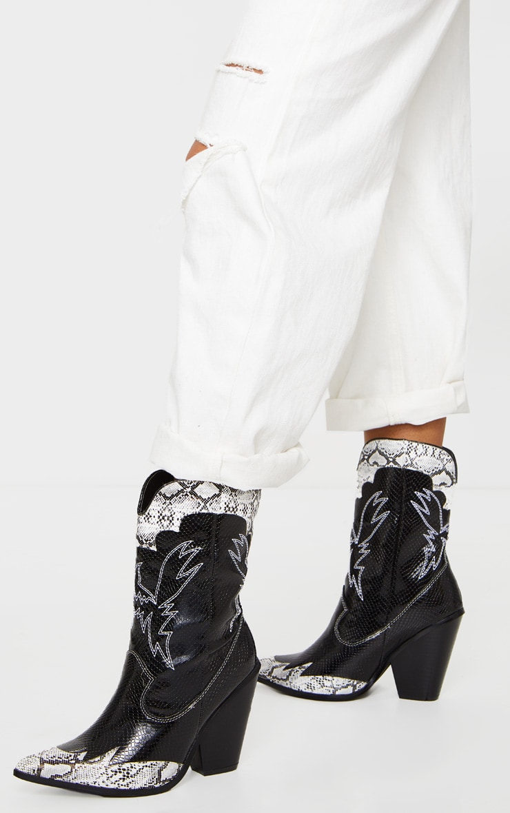 Black Contrast Snake Stitch Detail Ankle Western Boot 1