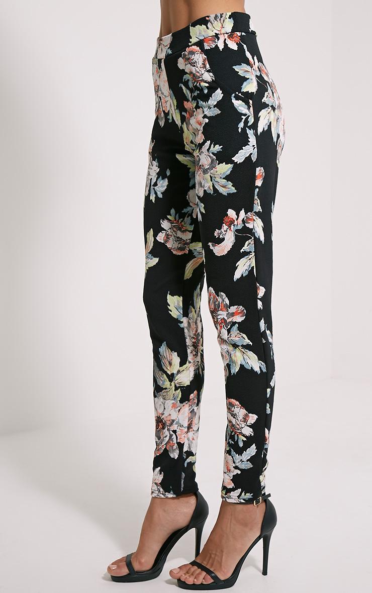 Karan Black Floral Trousers 3