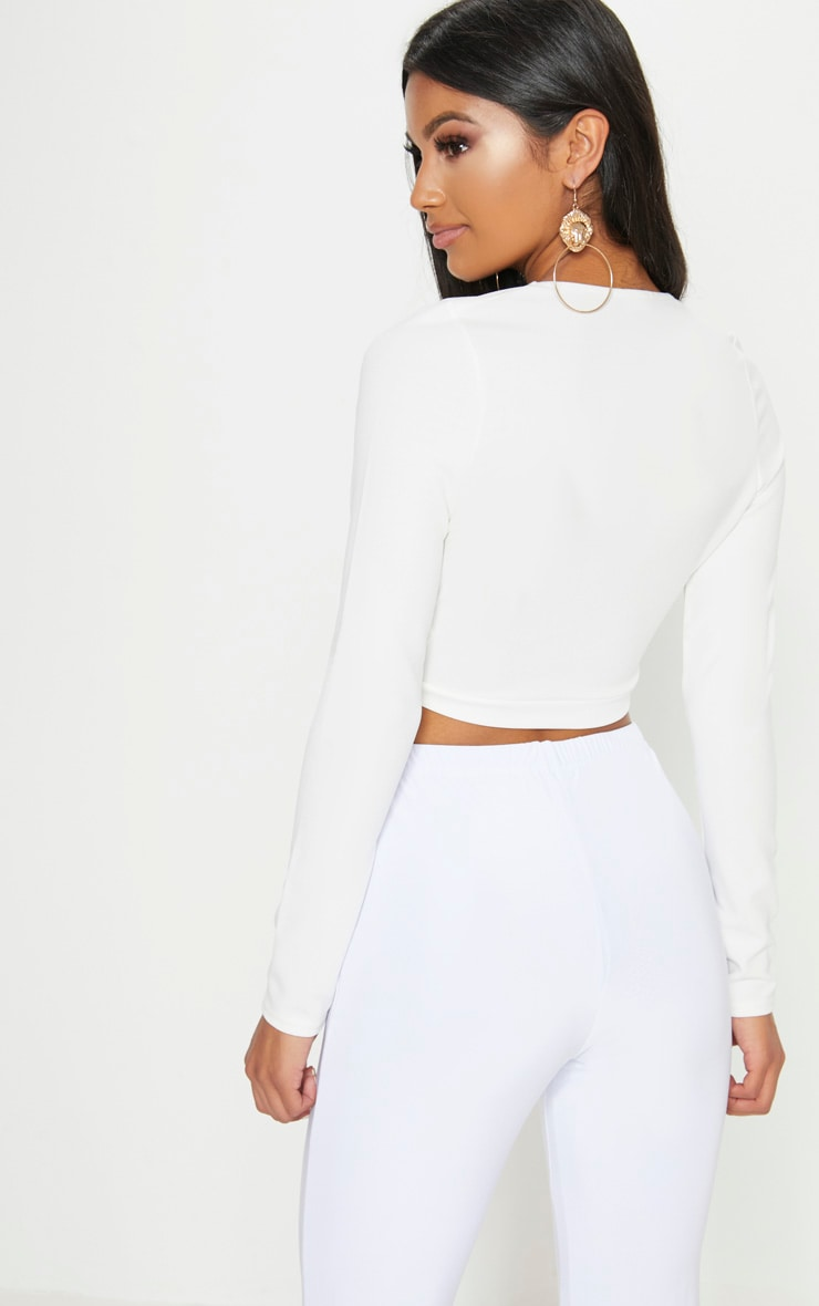 White Lion Clasp Plunge Long Sleeve Crop Top   2