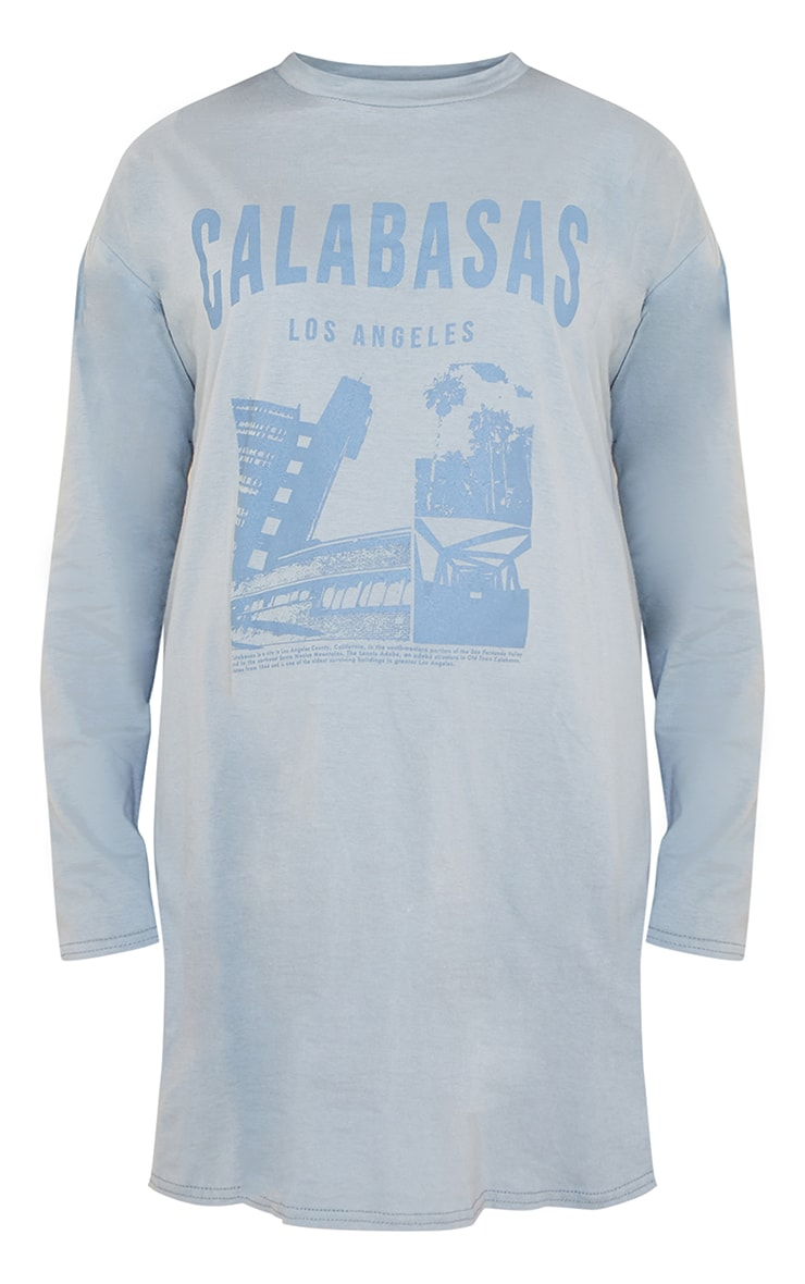 Maternity Steel Blue Calabasas T Shirt Dress 5