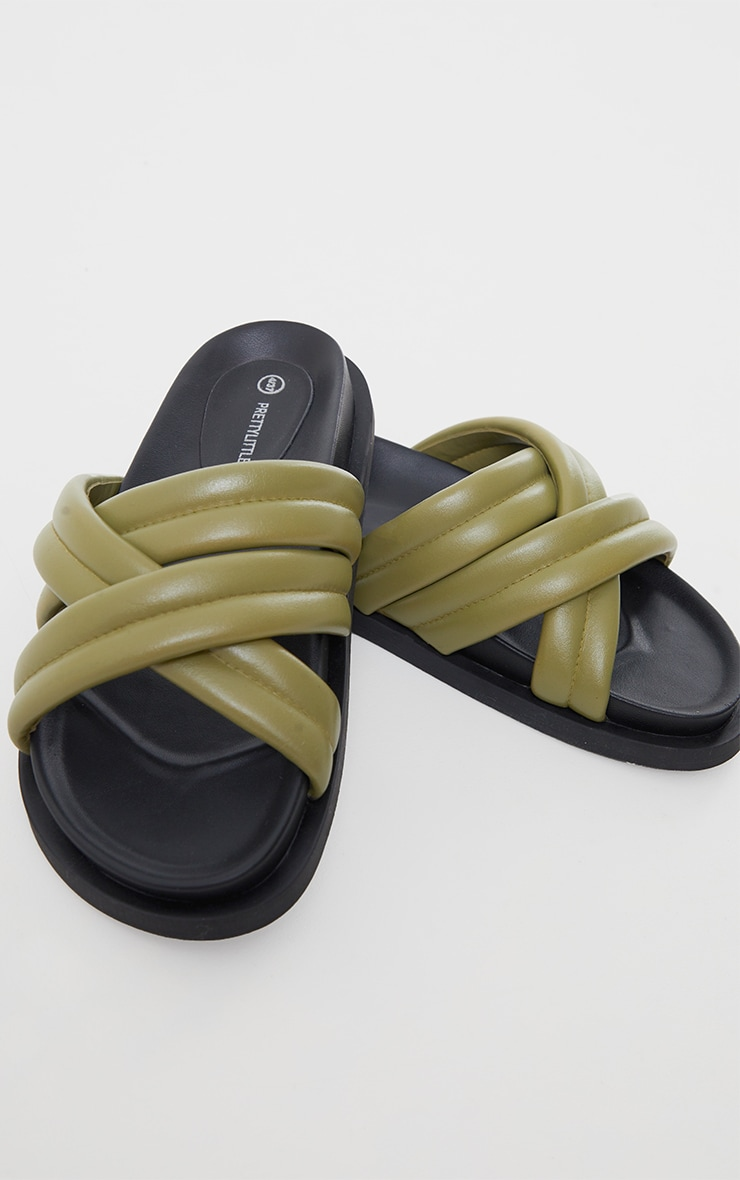 Khaki Real Leather Quilted Cross Over Chunky Foot Bed Sandals 4