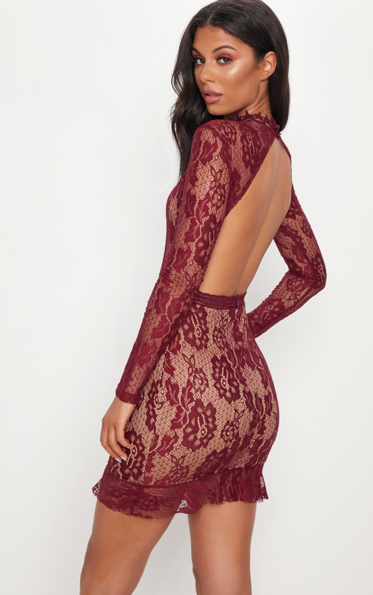 Burgundy Lace High Neck Open Back Bodycon Dress 4
