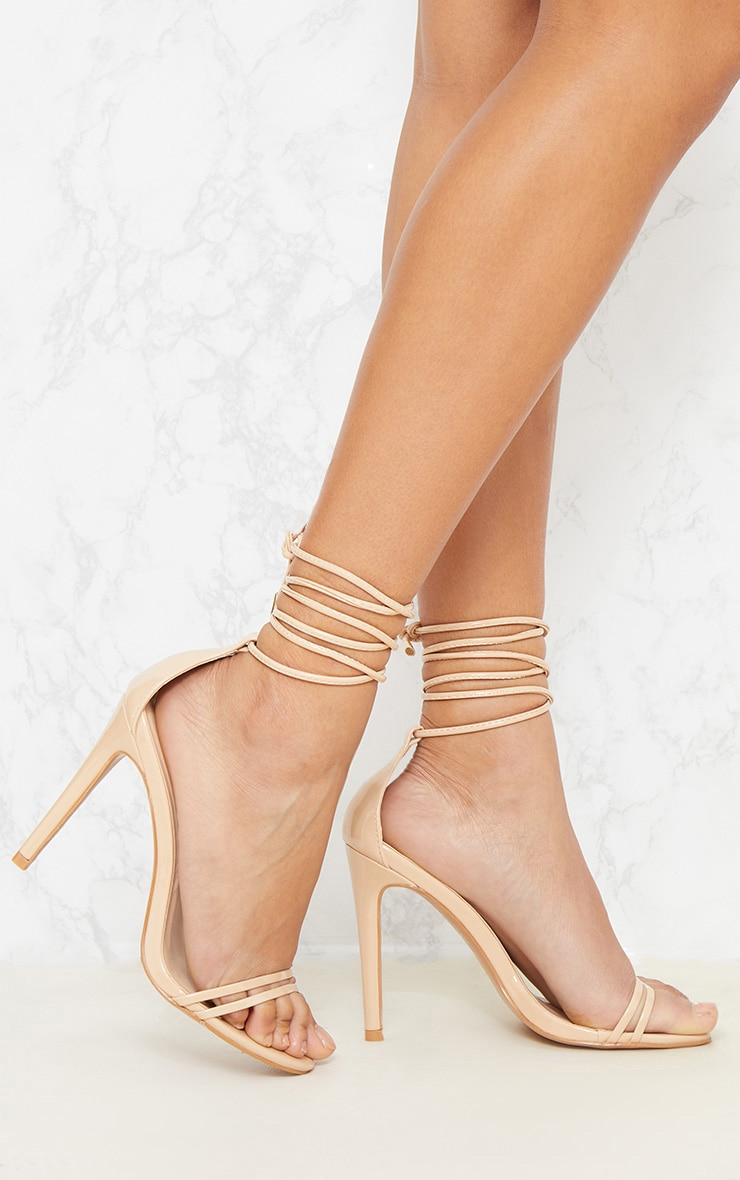 Nude Strappy Barely There Ankle Tie Sandal  1
