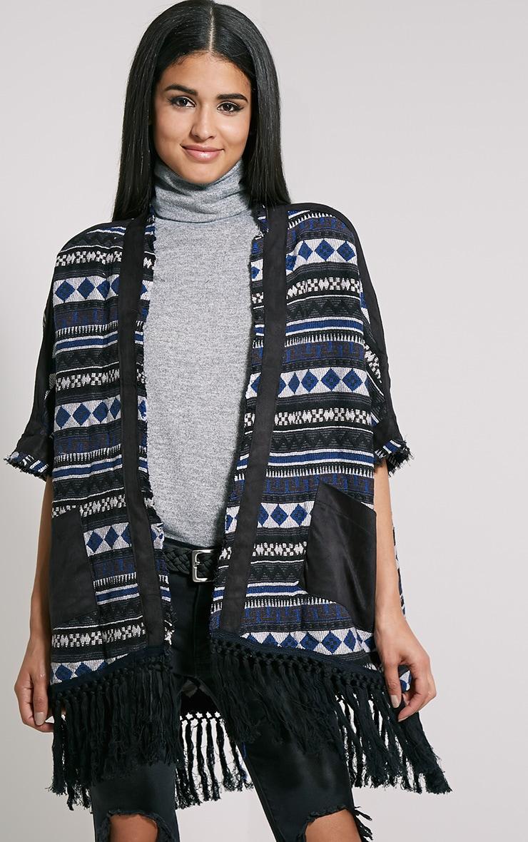 Mandy Blue Tribal Oversized Tassel Kimono 1