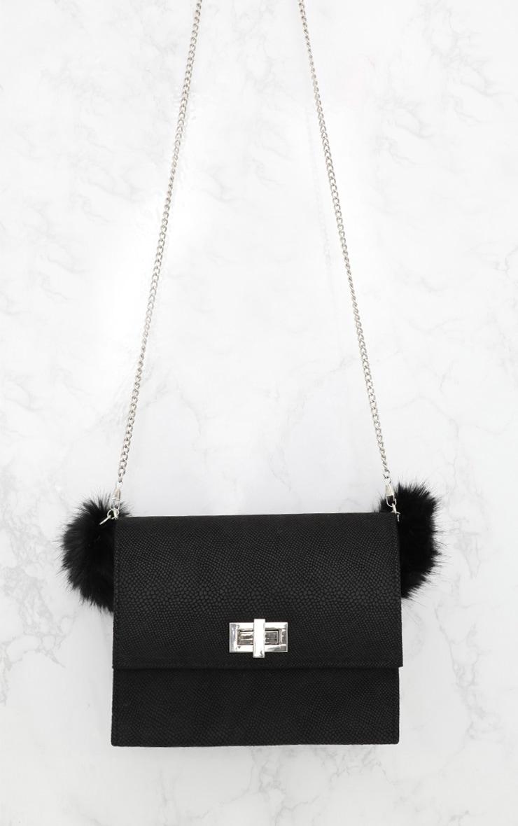 Black Faux Fur Handle Shoulder Bag 5