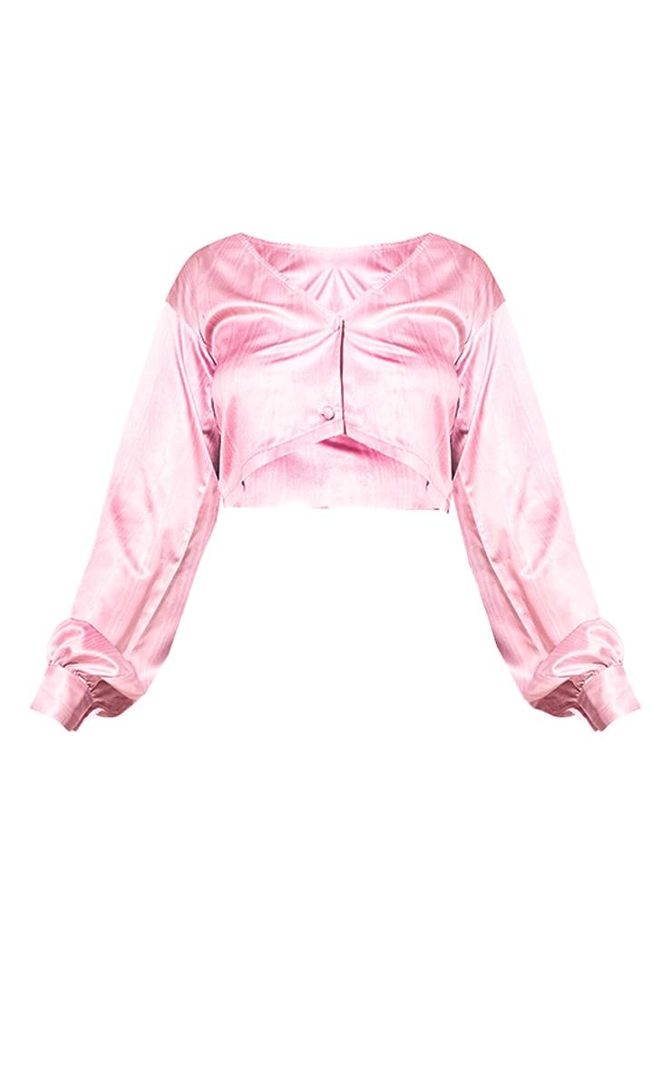 Pink Satin Taffeta Print Long Sleeve Crop Top 5