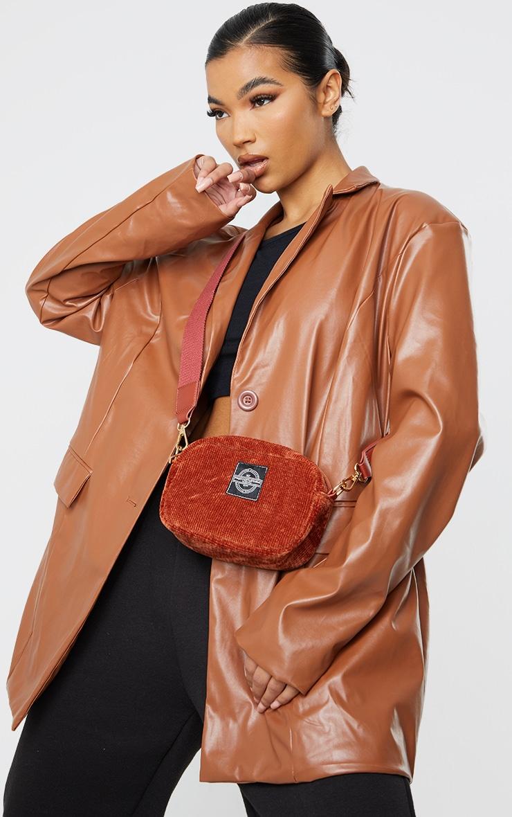 PRETTYLITTLETHING Burgundy Cord Mini Cross Body Bag 1