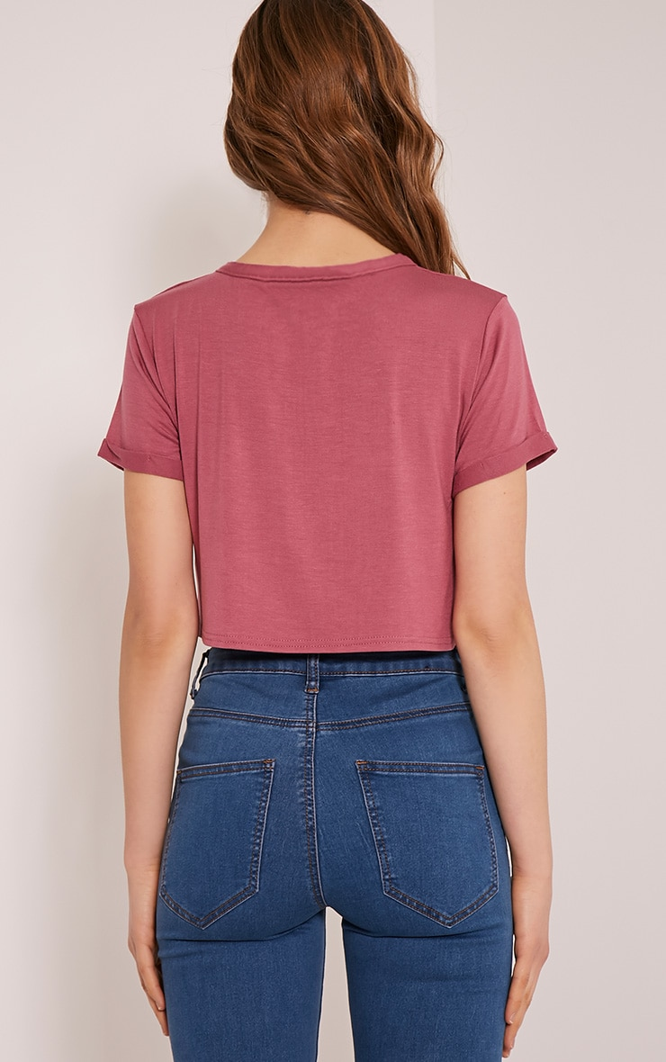 Basic Rose Roll Sleeve Crop T Shirt 2