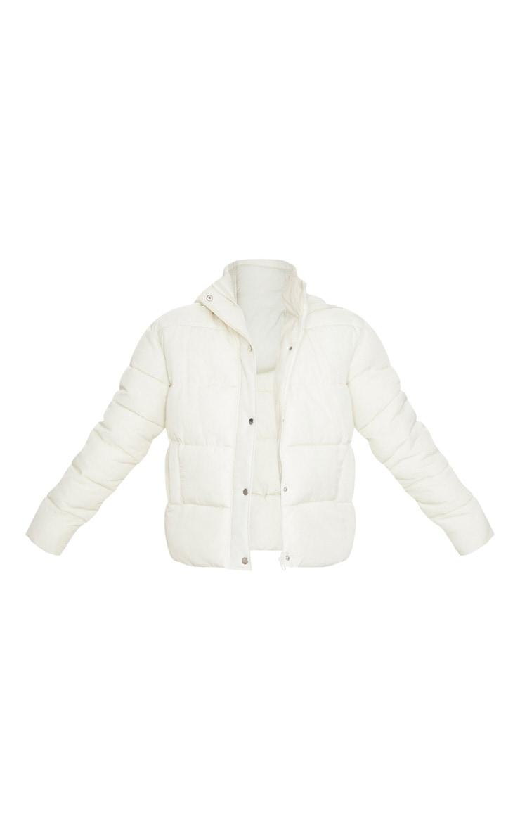 Cream Peach Skin Hooded Puffer Jacket 5