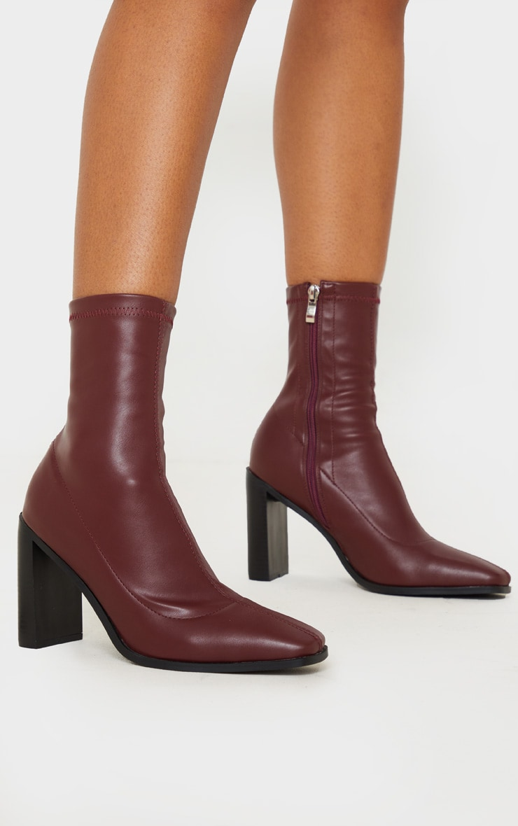 Burgundy Flat Heel Square Toe Sock Boot 2