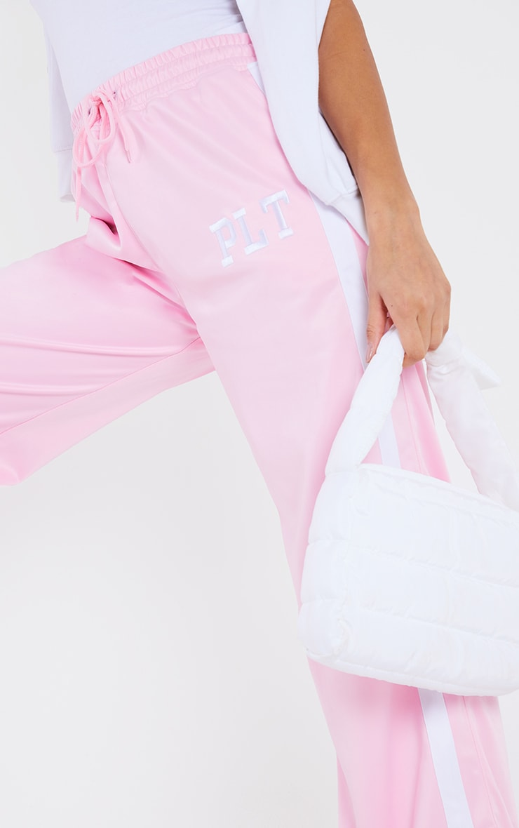 PRETTYLITTLETHING Pink Tricot Side Stripe Joggers 4