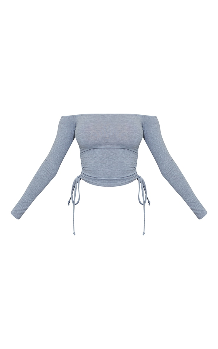 Grey Jersey Ruched Side Bardot Crop Top 5