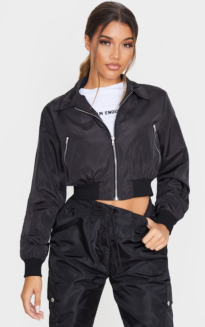 Black Zip Up Collar Bomber